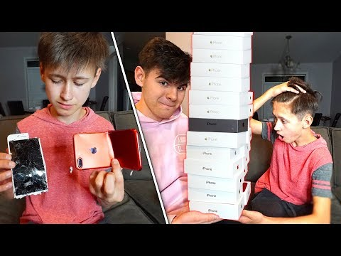 DESTROYING MY LITTLE BROTHERS IPHONE & BUYING HIM 100 NEW ONES... ($65,000)