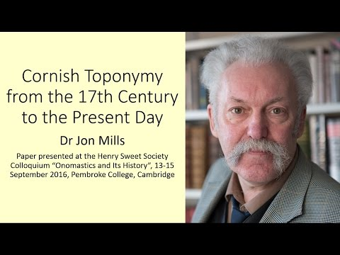 Cornish Toponymy from the 17th Century to the Present Day