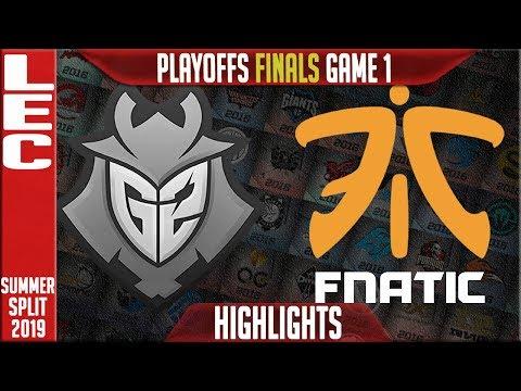 G2 vs FNC Highlights Game 1 | LEC Summeer 2019 Playoffs Grand-finals | G2 Esports vs Fnatic