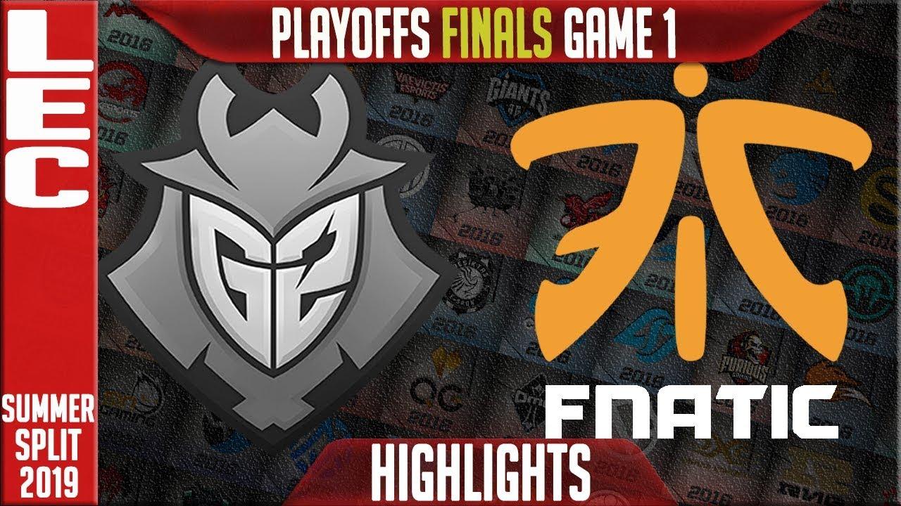 G2 vs FNC Highlights Game 1   LEC Summeer 2019 Playoffs Grand-finals   G2  Esports vs Fnatic