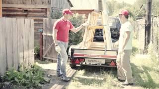 Прицеп для стройки (серия 4)(Перевозка пластиковых окон в прицепе. В проекте