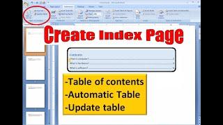 wie zu create index-Seite in microsoft word 2007 l Nutzung von Inhaltsverzeichnis