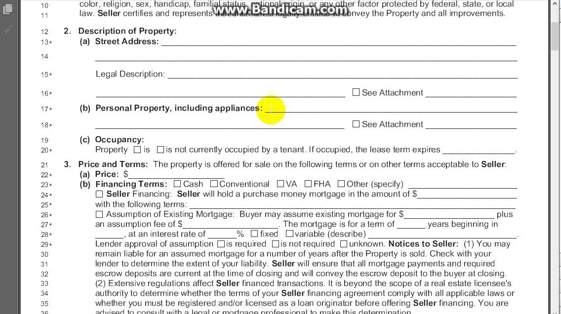 Exclusive Right Of Sale Listing Agreement Section 2 Youtube