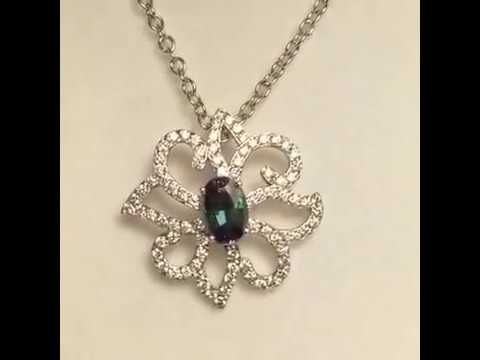 Fantastic Genuine Alexandrite And Diamond Flower Pendant In 14k White Gold - 0.61 Carats