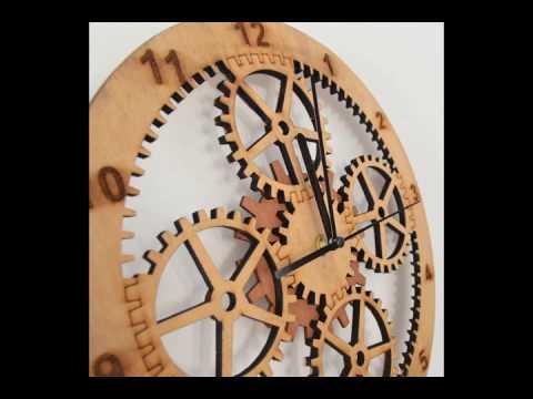 Giftgarden Wooden Gear Clocks for Wall Decor