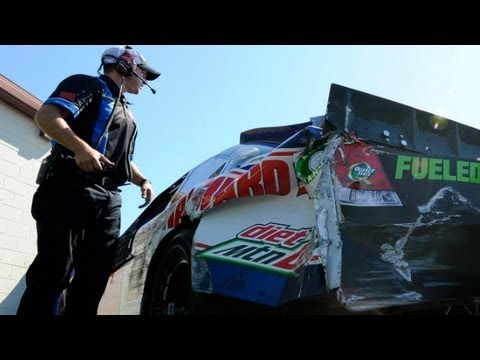 Dale Earnhardt Jr. hits the wall hard in practice, goes t...