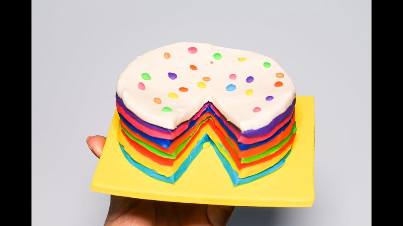 Hướng dẫn bé làm bánh kem nhiều màu bằng đất sét Play Doh – How to make a rainbow cake from Play Doh
