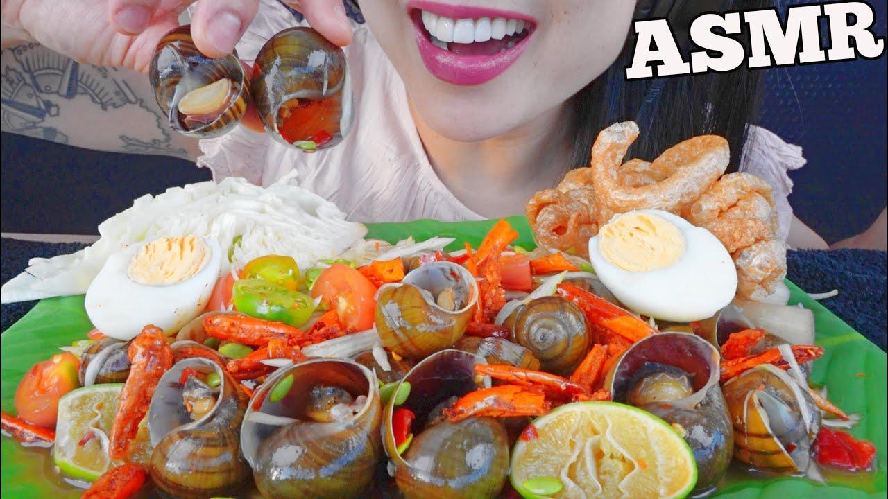 ASMR ตำหอย PAPAYA SALAD WITH ESCARGOT *SNAILS (EATING SOUNDS) NO TALKING   SAS-ASMR