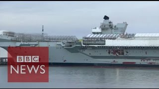 Onboard Royal Navy's largest ever warship - BBC News