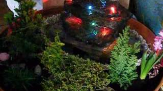 Fontanna - kaskada z oświetleniem led