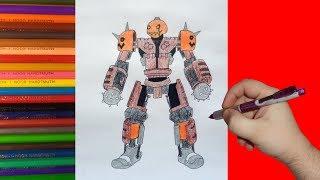 How to draw robot Hollow jack, Real Steel, Как нарисовать робота Холлов джек