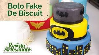 Como Fazer Bolo Fake com Biscuit - Tema Batman