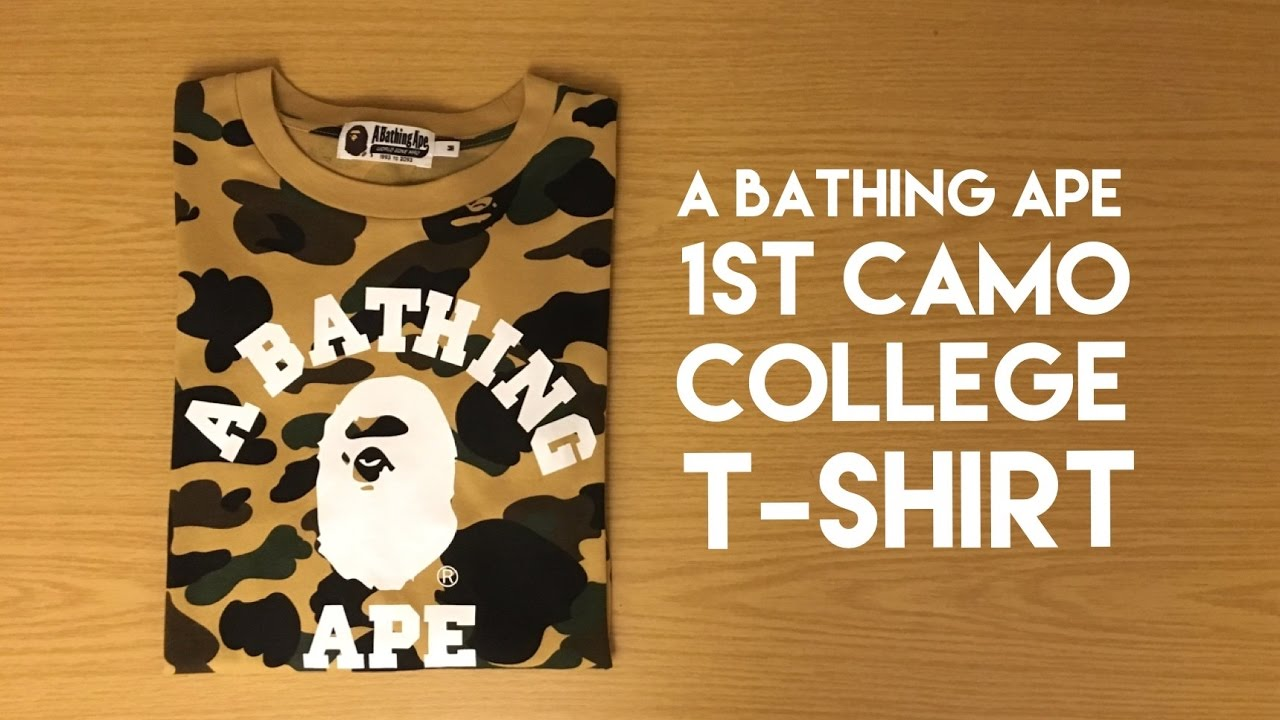 ee700be86387 A Bathing Ape 1st Camo College Yellow T-Shirt - Review - YouTube