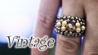 Artesanato passo a passo: Anel de cristal e pérolas vintage