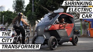 Compact Electric Car with Shrinking Wheelbase