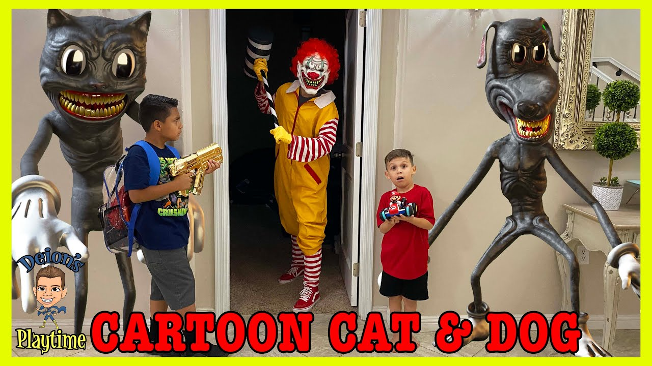DEION RESCUES DOMINICK FROM CARTOON CAT and CARTOON DOG | DEION'S PLAYTIME
