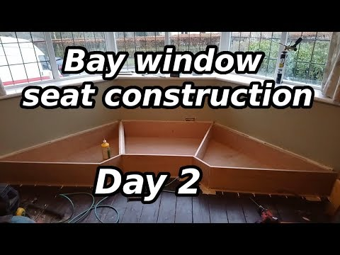 Bay window seat construction - day 2 fixing down the base, sides & divisions