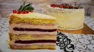 Невероятно ВКУСНЫЙ ЙОГУРТОВЫЙ торт Украшение ГОЛЫЙ ТОРТ Сборка и рецепт торта