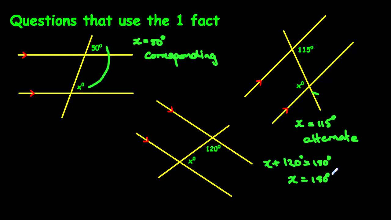 Angles on parallel lines  YouTube