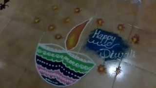Draw beautiful colorful diya on dhanteras
