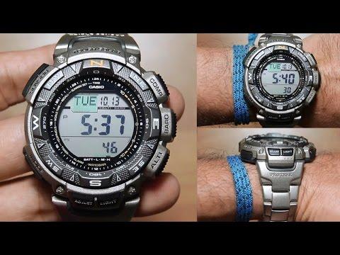 95f26dd0b245 Casio Protrek PRG-240T-7  TITANIUM - triple sensors - YouTube