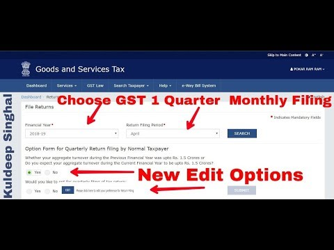 You Can Now Choose GST 1 Quarter/Monthly Filing For New Financial Year, NEW Edit Option