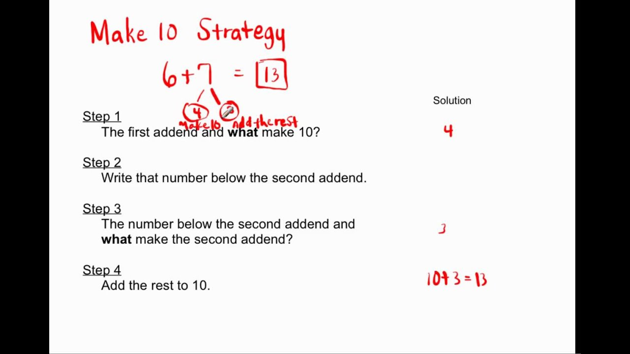 1 Oa 6 2 Oa 2 Make 10 Strategy For Addition Youtube