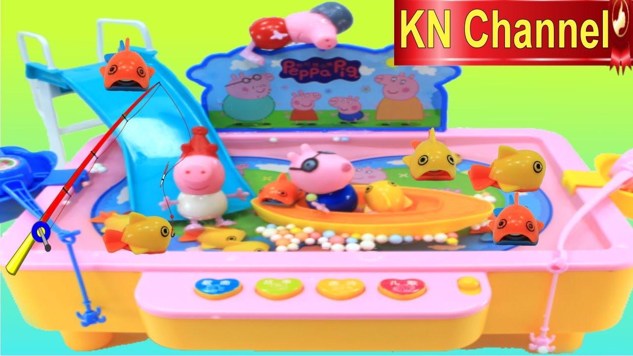 Đồ chơi Câu Cá trong HỒ BƠI BÚP BÊ HEO PEPPA PIG Fishing toys game POOL PARTY KN Channel