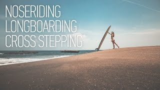 Noseriding Surfing Girl on Bali. Longboarding Cross Step