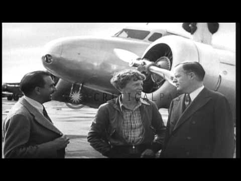 Amelia Earhart takes off from NAS Oakland, on first leg of her round-the-world fl...HD Stock Footage