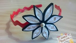 DIY - How to make paper quilled hair band / paper quilling flower tutorial