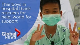 Thai boys in hospital thank rescuers for help, world for support