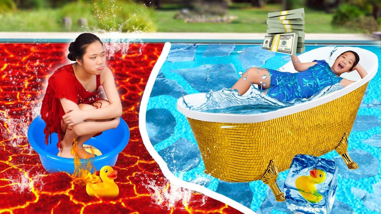 Bể Bơi Xanh Và Bể Bơi Đỏ ❤ Em Lạnh Chị Nóng ❤ Trang Vlog