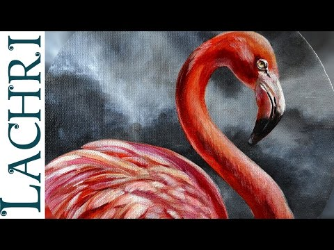 Flamingo acrylic painting - Time Lapse Demo by Lachri