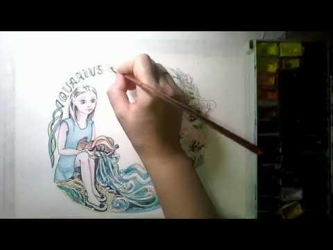 ВОДОЛЕЙ. Учимся рисовать акварелью. СЕРИЯ знаки зодиака.Draw The Sign Of The Zodiac AQUARIUS.