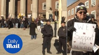 Crowds gather on steps of Queens Borough Hall to support NYPD - Daily Mail