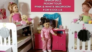 Ag Doll House Tour: Pink & White Bedroom For 6 Dolls