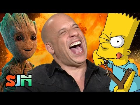 Vin Diesel Loses It Doing Baby Groot AS Bart Simpson! Plus, Buzz Lightyear & Nina Dobrev)