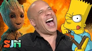 Vin Diesel Loses It Doing Baby Groot AS Bart Simpson! Plus, Buzz Lightyear & Nina Dobrev)