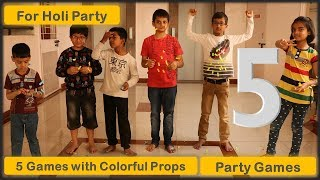 5 kids Party games and Kitty party games   One minute games   with colourful props Holi special