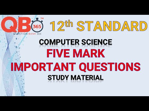 TN   12th Standard Computer Science Five Mark Important Questions With Answer Key -Full Portion
