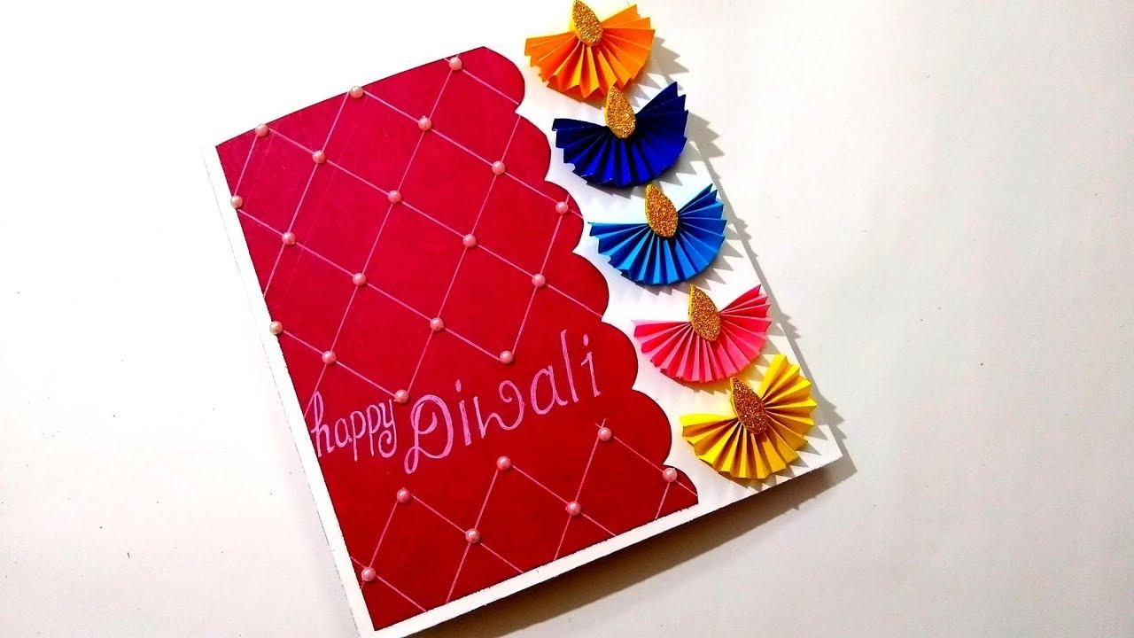 Diwali Card Beautiful Handmade Card Idea For Diwali Complete Tutorial Youtube Happy Diwali Cards Cards Handmade Diwali Card Making