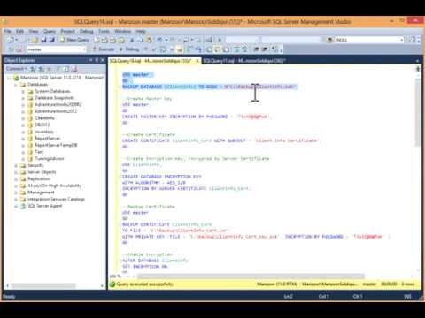 Encrypt Database with Transparent Data Encryption (TDE) in SQL Server 2012 [HD]