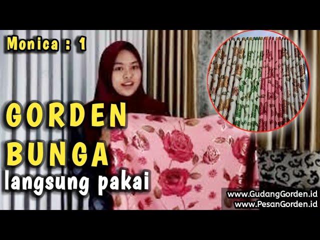 Gorden Minimalis | Gordyn Jadi Motif Bunga Monica 1  - 085287651175 #gudanggorden