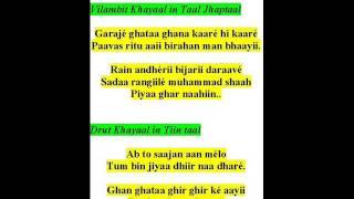 ramkrishna das sings khayaals- raag megh malhaar-garaje ghataa ghana, ab to saajan aan melo