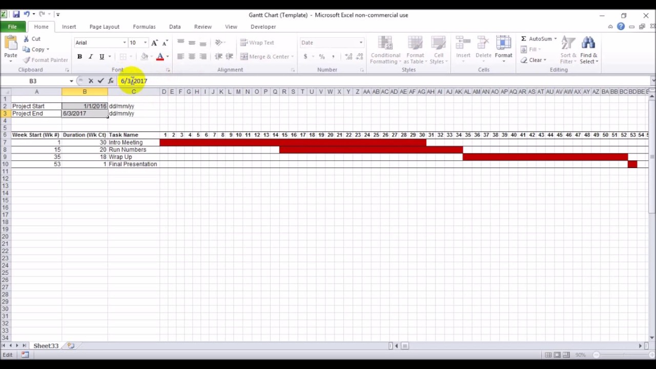 How to create gantt chart free template youtube how to create gantt chart free template nvjuhfo Images