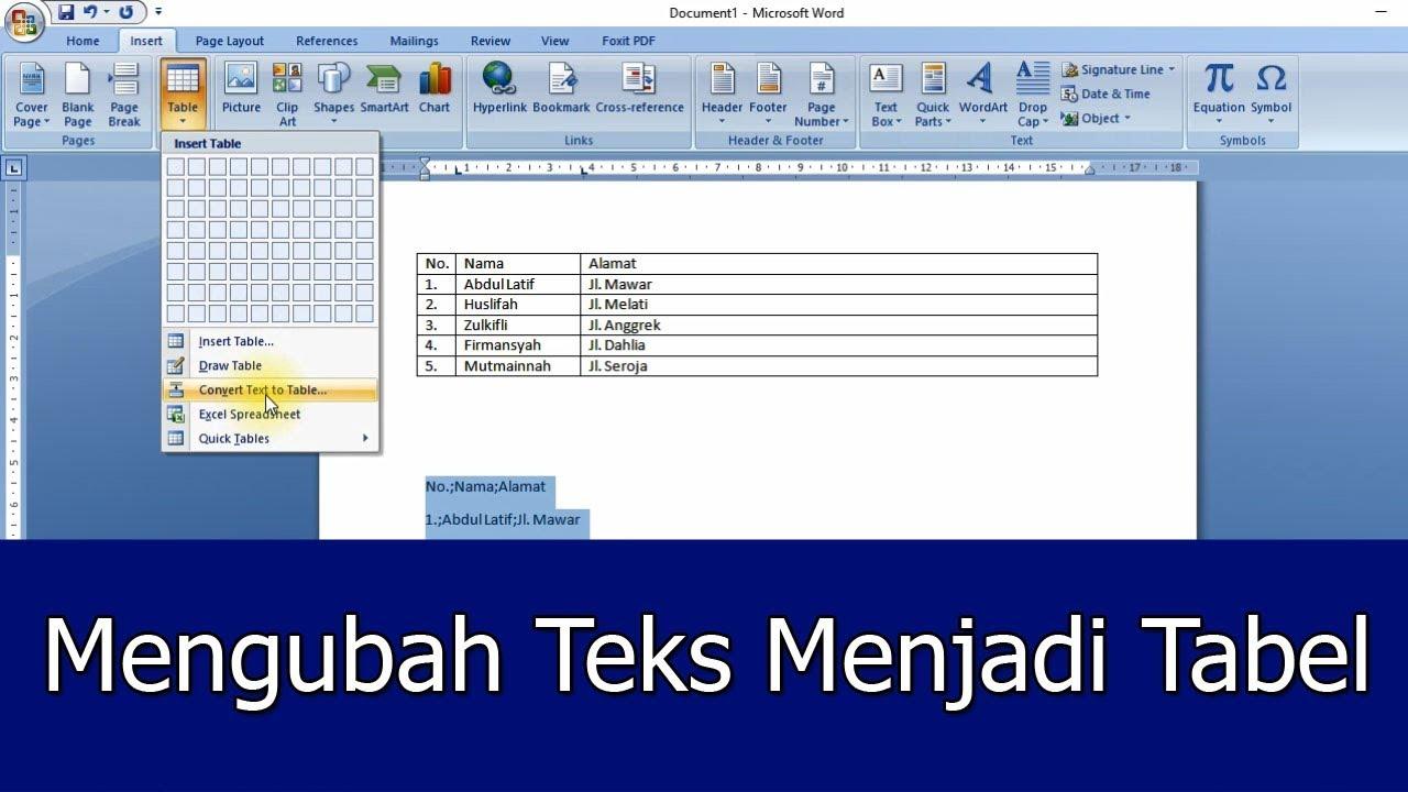 Cara Mudah Mengubah Teks Menjadi Tabel Pada Microsoft Word ...