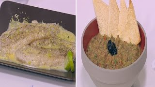 سمك بالزبدة و الليمون مع جمبري بالبطاطس في الفرن - باذنجان للتغميس - سلطة لبنة | مغربيات حلقة كاملة
