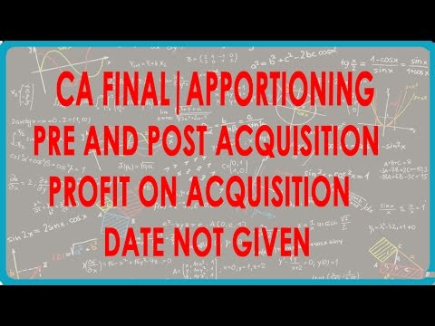 CA Final | Apportioning Pre and Post acquisition - Profit on acquisition date not given.