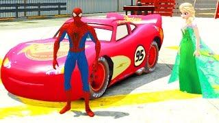 Человек Паук Спайдермен и Эльза Холодное сердце гонки красная машина Молния Маквин Тачки 2 Дисней